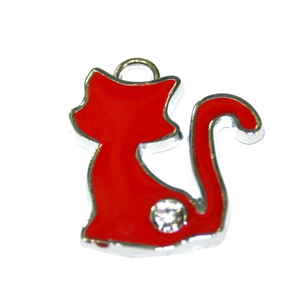 1Pce x 22*19mm Rhodium plated red cat enamel charm with rhinestone - S.D03 - CHE1057
